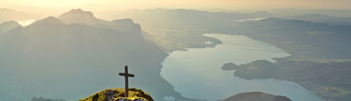 Panoramic view of beautiful landscape with Mondsee lake at sunset from Schafberg mountain in Salzkammergut, Austria